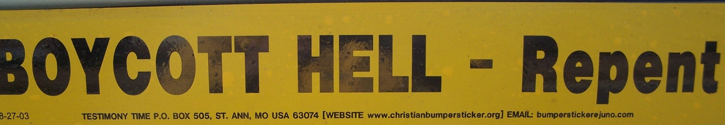 boycott hell bumper sticker